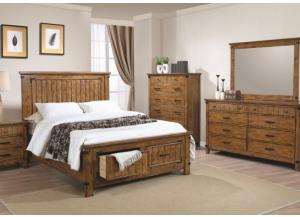 Brett Queen Storage Bed, Dresser, Mirror, Chest and Nightstand