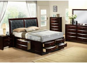 Emily Queen Storage Bed, Dresser, Mirror, Chest and 1 Nightstand