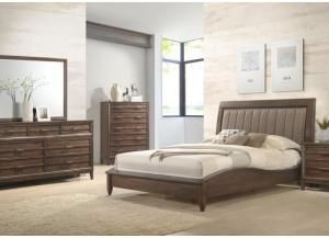 Windsong Queen Upholstered Platform Bed, Dresser, Mirror, Chest and 1 Nightstand-LIMITED QUANTITY
