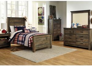 Joshua Twin Bed, Dresser, Mirror, Chest and 1 Nightstand