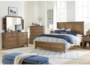 Thornton Queen Panel Bed, Dresser, Mirror with Jewelry Storage, Chest and 1 One Drawer Nightstand