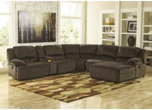 Linden 6 Piece Chocolate RAF Chaise Sectional