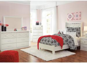 Dreamer Full Bed, Dresser,  Mirror, Chest and 1 Nightstand