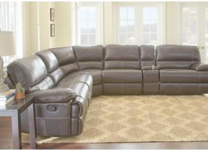 Rollins Tobacco Brown Leather 6 Piece Reclining Sectional-LIMITED QUANTITY