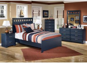 Summer Breeze Full Panel Bed, Dresser, Mirror, Chest and 1 Nightstand