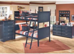 Summer Breeze Twin/Twin Bunkbed, Dresser, Mirror, Chest and 1 Nightstand