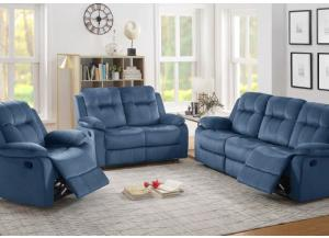 Bryant Reclining Sofa, Reclining Loveseat and Recliner in Blue-SOLD AS A 3 PIECE SET ONLY-LIMITED QUANTITY