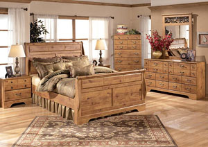 Rustic Queen Sleigh Bed, Dresser, Mirror, Chest & Night Stand
