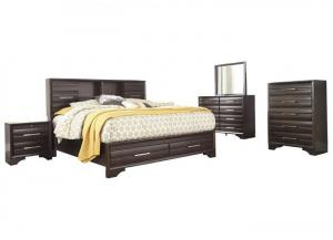 Andriel Dark Brown Queen Bookcase Storage Bed w/Dresser & Mirror, Chest and 1 Nightstand-LIMITED QUANTITY
