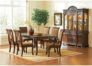 Harmony Table. 4 Side Chairs, 2 Arm Chairs China Base and Hutch-1 FLOORSAMPLE LEFT LUMBERTON