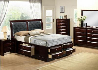 Emily Full Storage Bed, Dresser, Mirror, Chest and 1 Nightstand