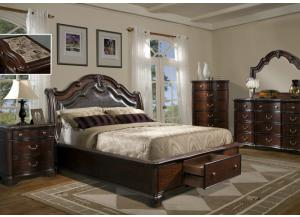 Barone King Storage Bed, Dresser, Mirror, Chest and 1 Nightstand