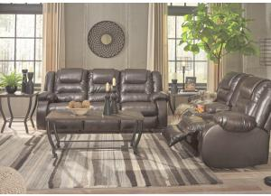 Alliston Brown Reclining Sofa and Reclining Loveseat