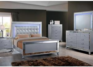 Valentino King Upholstered Bed with Lighted Headboard, Dresser, Lighted Mirror, Chest and 1 Nightstand-FLOORSAMPLE BORDENTOWN