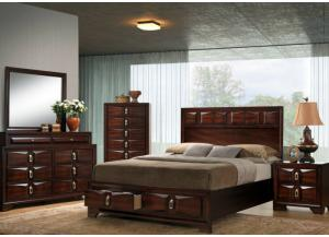 Rosell King Storage Bed, Dresser, Mirror, Chest and 1 Nightstand