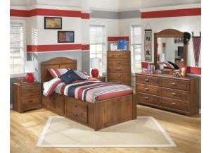 Stephan Twin Panel Bed with Storage, Dresser, Mirror, Chest and 1 Nightstand