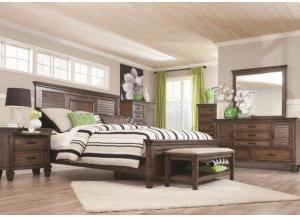 Colton Queen Bed, Dresser, Mirror, Chest and 1 Nightstand-LIMITED QUANTITY