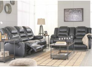 Alliston Black Reclining Sofa and Reclining Loveseat