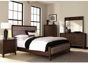 Bingham Upholstered King Panel Bed, Dresser, Mirror, Chest and 1 Nightstand