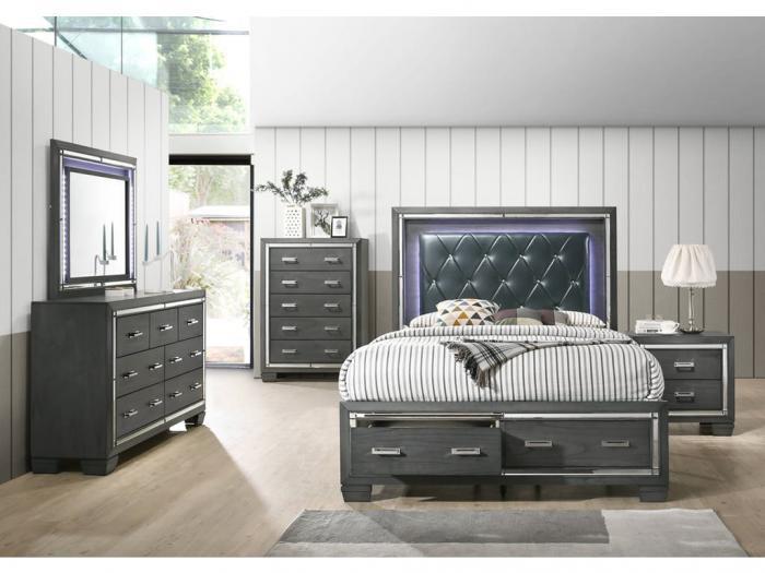 TT7 QUEEN STORAGE BED, DRESSER, MIRROR Jerusalem Furniture