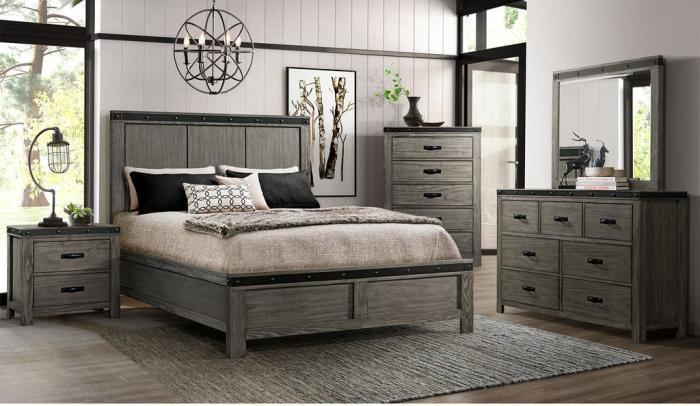 WE600-QUEEN BED, DRESSER, MIRROR, CHEST, 1 NIGHT STAND,Jerusalem Furniture