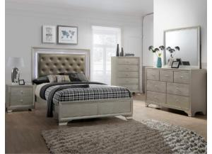 4300- QUEEN BED, DRESSER, MIRROR, 2 NIGHT STANDS
