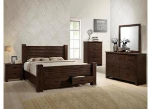 5710 KING BED, DRESSER, MIRROR, 1 NIGHT STAND