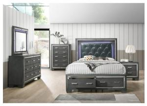 TT100 QUEEN STORAGE BED, DRESSER, MIRROR