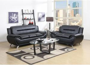 Image for U9105- BLACK SOFA, LOVESEAT, FREE CHAIR