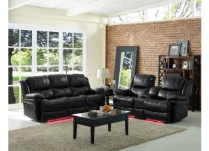 Black Reclining Sofa & Reclining Love Seat