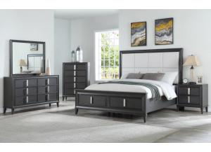 B346- QUEEN BED, DRESSER, MIRROR, 1 NIGHT STAND
