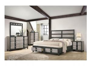B8301- QUEEN STORAGE BED, DRESSER, MIRROR, CHEST, 1 NIGHT STAND