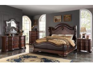 BD018- KING BED, DRESSER, MIRROR, 1 NIGHT STAND