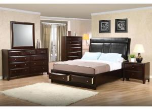 Image for Phoenix Cappuccino Queen 2 Drawer Storage Bed, Dresser, Mirror, Chest & Nightstand