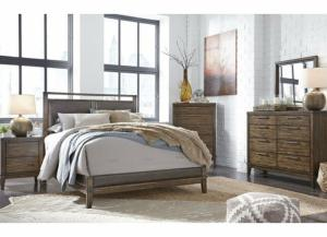 Zilmar Walnut Brown Queen Upholstered Bed w/Dresser, Mirror, Drawer Chest & Nightstand