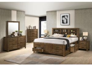 8308 QUEEN STORAGE BED,DRESSER,MIRROR