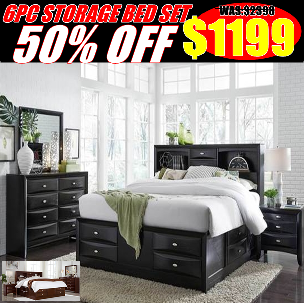 50% Off 6pc Storage Bed Set