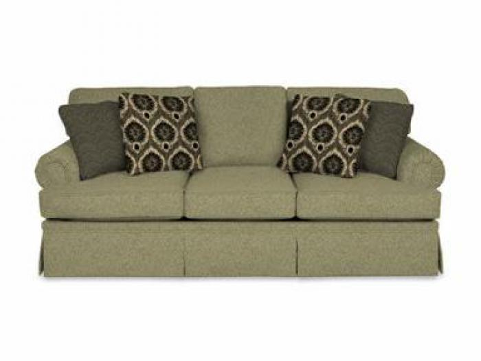 ENGLAND 5355 Sofa with Cornell Platinum Fabric & Marguerite Jet & Bono Jet Pillows,ENGLAND FURNITURE