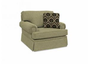 5354 Chair with Cornell Platinum Fabric & Marguerite Jet & Bono Jet Pillows