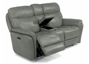 "Image for Flexsteel ""Zoey"" Power Headrest & Power Reclining Console Loveseat"