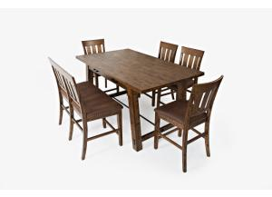 Cannon Valley Counter Top Trestle Table 4 Stools and Bench