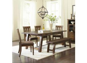 Cannon Valley Trestle Dining Table and 4 Chairs and Bench Set
