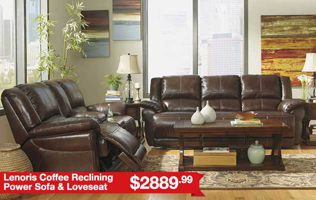 Lenoris Coffee Reclining Power Sofa & Loveseat
