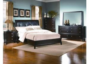 Leonardo Espresso Twin Upholstered Bed, Dresser, Mirror and Chest