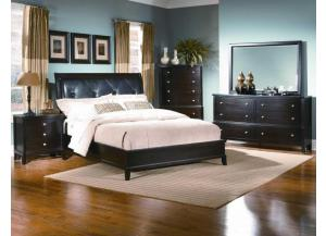 Leonardo Espresso Full Upholstered Bed, Dresser, Mirror and Chest