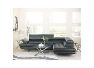 Pisa Pellissima Black  Sectional with Right Side Facing Chaise