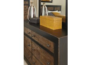 Sand-through Black/ Embossed Oak Dresser