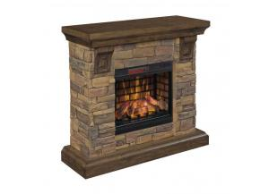 Aged Coffee/Stone Mantel Fireplace