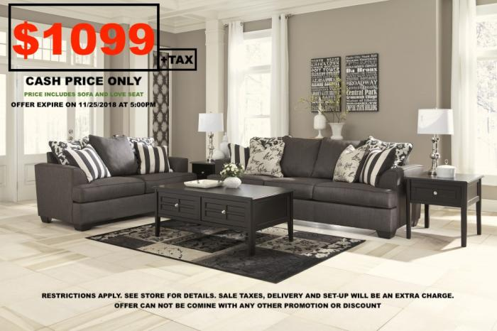 Levon Charcoal Sofa & Loveseat,Instore