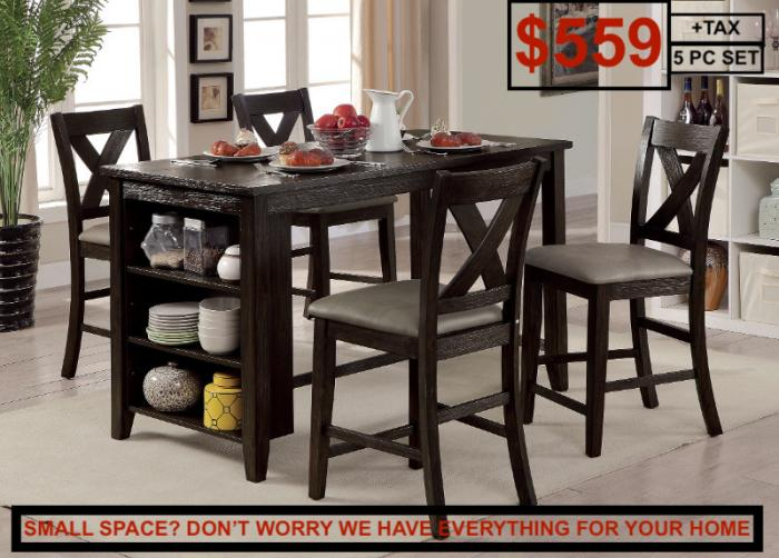Lana Dark Walnut Counter Height Table w/4 Counter Chairs,Instore